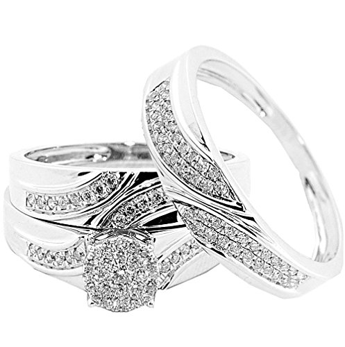 Ring-sätze Diamant-hochzeit Für Ihn (rings-midwestjewellery. COM Damen Trio Hochzeit Set seine und ihre Ringe 16mm breit Set Diamanten 10K Weiß Gold 0,5cttw))