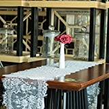 vlovelife 35,6x 304,8cm Vintage weiß Spitze Tischläufer Overlay Exquisite Spitze Stoff mit Rose bestickte Blumen Tischläufer perfekt für Rustikal Chic Hochzeit Tisch Decor, Boho Party Decor, weiß, 14