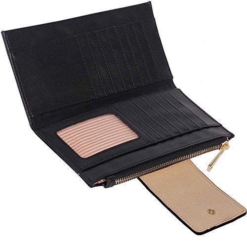 xardi London strutturato in pelle sintetica-Portafoglio da donna moneta di denaro da viaggio Borse Black/Nude