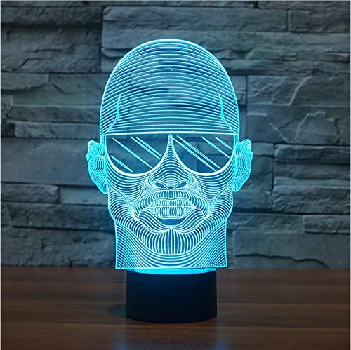 Bunte Visuelle 3D Led Nachtlicht Mit Sonnenbrille Mann Modellierung Schreibtischlampe Für Schlafzimmer Lampe Dekor Nacht Leuchte