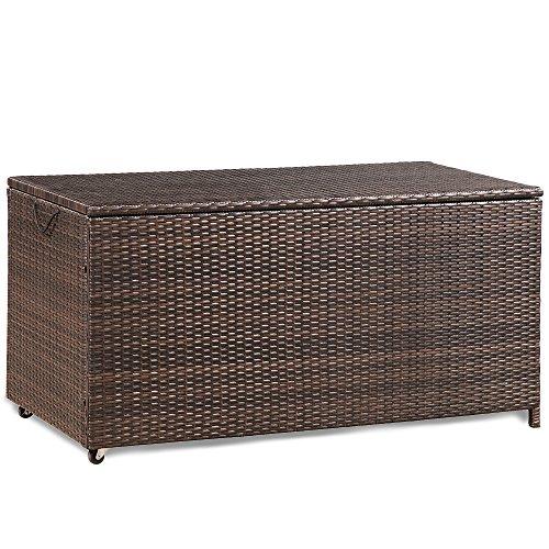 Mreax Kissenbox aus wasserdicht Polyrattan, Auflagenbox Gartenbox Gartentruhe Aufbewahrungsbox, Sitzbank, L118 cm x B 59 cm x H 54 cm, 320 L (Grau)