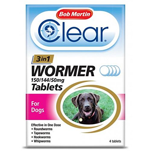 Bob Martin Clear 3 in 1 Wormer Tablets for Dogs 4 Tablets