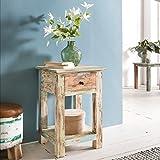 Wohnling Design Beistelltisch YAMAS40 x 40 x 60 cm Massiv mit 1 Schublade | Telefontisch Holz Shabby Vintage | Holztisch Quadratisch Modern Bunt