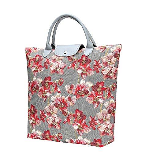 Borsa donna Signare in tessuto stile arazzo Pieghevoli Shopping alla moda Peonia Orchid