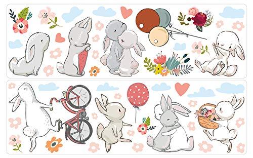 dekodino® Wandtattoo Aquarell Hasen mit Fahrrad und Ballons Wanddeko Set