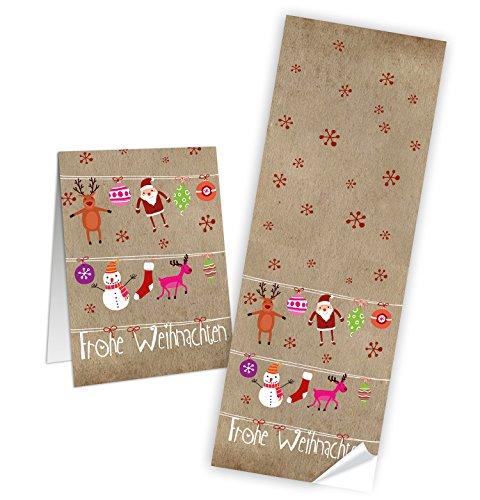 """Preisvergleich Produktbild 25 große Aufkleber Sticker """"Frohe Weihnachten"""" mit festlichen Motiven (7 x 21 cm) - Etiketten Banderolen zum Verschließen und Dekorieren; 1a-Qualität"""