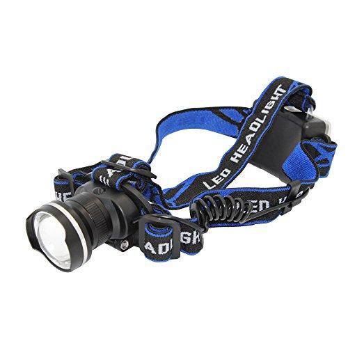 KC Fire lampe frontale LED, zoom, Phare de poche (pour le camping et la randonnée) avec LED Super Bright 900lumens XML-T6, 3modes d'éclairage