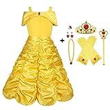 Vicloon Disfraz de Princesa Belle Vestido y Accesorios para Niñas, Corona Anillo Sceptre Collar Pendientes Guantes, para Fiesta Cosplay,Carnaval,Navidad,Fiesta de cumpleaños,Halloween