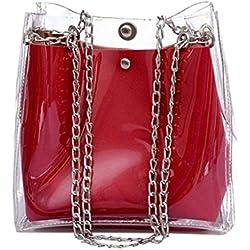 MOTOCO Mme Petit Sac Seau Chaîne Sac Fourre-Tout Sac Mini En plastique Jelly Pack Sac De Plage Transparent(rouge)