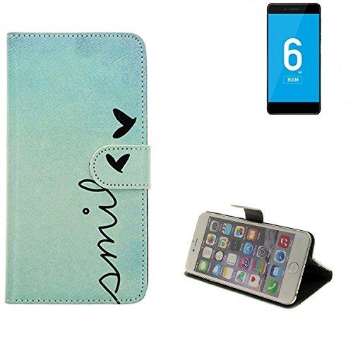 K-S-Trade® für Vernee Mars Pro 4G Wallet Case Schutz Hülle Flip Cover Tasche ''Smile'', türkis
