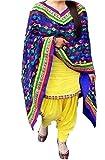 Sanjana Women's Yellow Patyala Dress Mat...