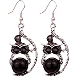 Yazilind Tibetan Silver Black Eye Crystal Retro Owl Ear Wire Hook Dangle Earrings