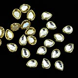 #8: Embroiderymaterial Tear Drop Shape Silver Kundans For Jewellery Making,Craft,Embroidery Work & Dress Making- 50 Pcs, 10X12Mm