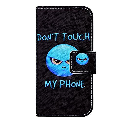 SMART LEGEND iPhone 5 5S Lederhülle, iPhone SE Ledertasche Brieftasche Hülle Klapphülle Schutzhülle Gemalt Muster Premium Flip Leder Schale Wallet Case Folio Tasche mit Handschlaufe Standfunktion Halt Don't Touch My Phone(Ausländer)