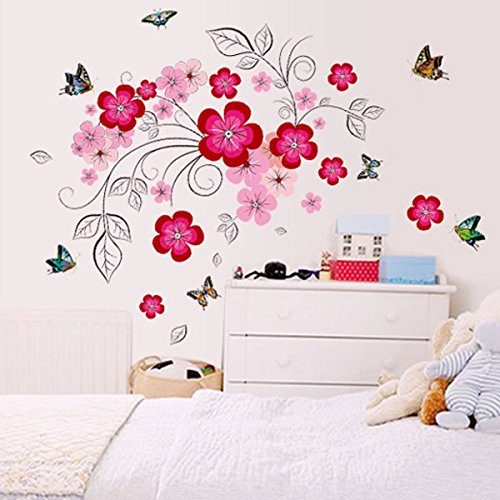 Oren Empower Pink Flower Creative Art Wall Sticker for Creating Positive Mind...