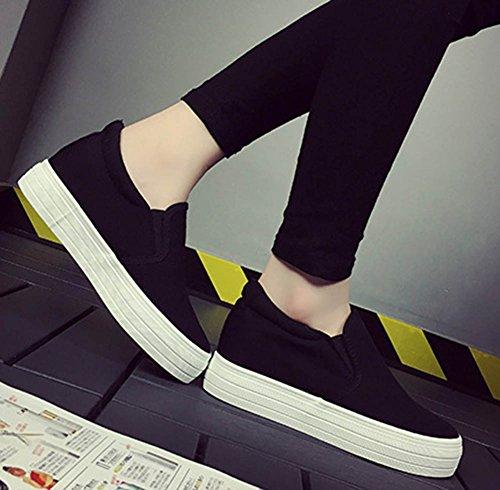 Aisun Damen Klassisch Canvas Plateau Unsichtbare Erhöhung Slipper Sneakers Schwarz