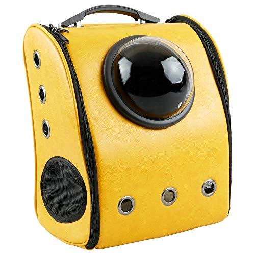 Citybag - zaino per trasporto di animali domestici cani e gatti trasportino in imitazione de pelle gialla
