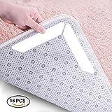 Tianhaixing 16Anti-Rutsch Teppich Griff wiederverwendbar, Abnehmbarer Teppich Aufkleber, waschbar für Büro Schlafzimmer Küche Badezimmer, weiß, 8pcs(13x2.5cm)+8pcs(17.7X 3cm)