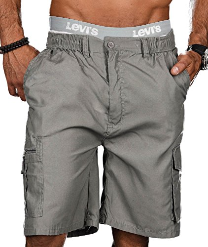Golden Brands Selection Stylische Herren Sommer Shorts Kurze Hose Bermuda Short Knielang Dehnbund B413 [B413 - Grau - Gr.XXL]