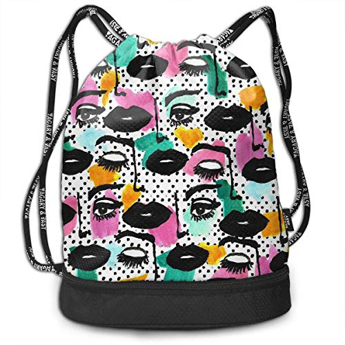 ziHeadwear Girls Face Creative Print Drawstring Bags - Simple Hiking Sack (Halloween Für Face Creative Make-up)