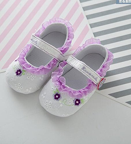 5Five Sweet cotton flowers printed lace soft soled baby shoes 6-12 Monday baby girl Purple