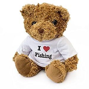 London Teddy Bears Oso de Peluche con Texto en inglés I Love Fishing, Bonito y Adorable, Regalo de cumpleaños, Navidad, San Valentín