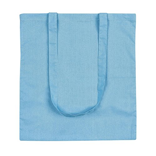 eBuyGB Pack of 10 Cotton Shopping Canvas and Beach Tote Bag 42 cm, Light Blue