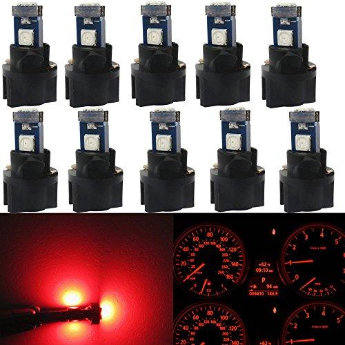 WLJH 10pcs Rot T5 Instrumententafel Dash LED Leuchtmittel PC74 17 37 3030SMD 12 Armaturenbrett Blinker Lampen mit Twist Sockel