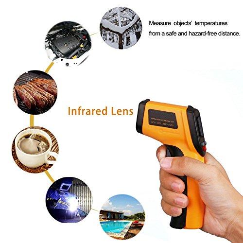 Preisvergleich Produktbild Laser Messgerät Deutschland - Infrarot Thermometer / Pyrometer Pistole / Digital inkl. Laserpointer für kontaktfreies messen der Temperatur