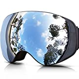 ZIONOR Lagopus X2 Snowmobile Snowboard Skate Ski Goggles with Detachable Lens and Wide Angle Double Lens Anti-fog Big Spherical (Black Silver)