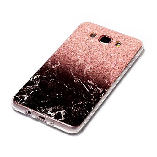 Cozy Hut Für Samsung Galaxy J7 2016 Handyhülle mit Marmor / Marble Design(Schwarz / Rosengold) | Handytasche | | Schale | | Hülle | | Case | Handy-etui | TPU-Bumper | Soft Case | Schutzhülle Cover für den optimalen Schutz ihres Samsung Galaxy J7 2016(SM-J710) 5,5 Zoll - Schwarzer Rosmarin Marmor