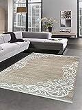 Carpetia Waschbarer Teppich Print Teppich Küchenteppich beige Creme Ranken Muster Größe 120x160 cm