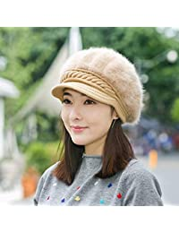 HUAIX Home Chapeau Femelle Hiver Plus Cache-Oreilles épais en Velours Chaud  Canard tricoté béret Bonnet Lapin… 0be20376273
