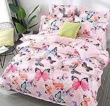 AShanlan Baby Mädchen Rosa Bettwäsche Schmetterling 100 x 135 Babybettwäsche Pink Bunt Butterfly 100% Mikrofaser Kinder Bettbezug mit Kissenbezug 40x60