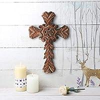Indiaethnicity Crucifijo de madera Pared de Jesús Cruz Rosario Pulsera Decoración Altar o sala de estar Grandes regalos de Navidad para el lunes cibernético