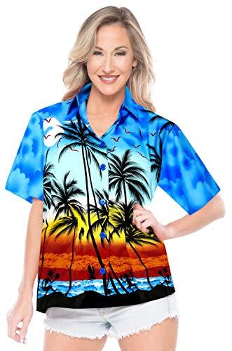 Bluse Frauen mit kurzen �rmeln Aloha Shirt Hawaiian Abnutzung Bademoden Oben Kragen XXL (Bademode Oben)