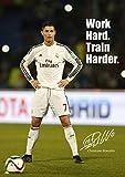 A3-Poster von Cristiano Ronaldo, Nummer 43, Weltfußballer des Jahres, mit Real-Madrid-Logo im Hintergrund und kopierter Unterschrift