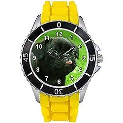 Pug negro Unisex Reloj para hombre y mujer con correa de silicona amarillo