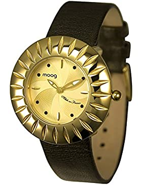 Moog Paris Petale Damen Uhr mit Champagner Zifferblatt, Swarovski Elements & Schwarz Armband aus Echtem Leder...