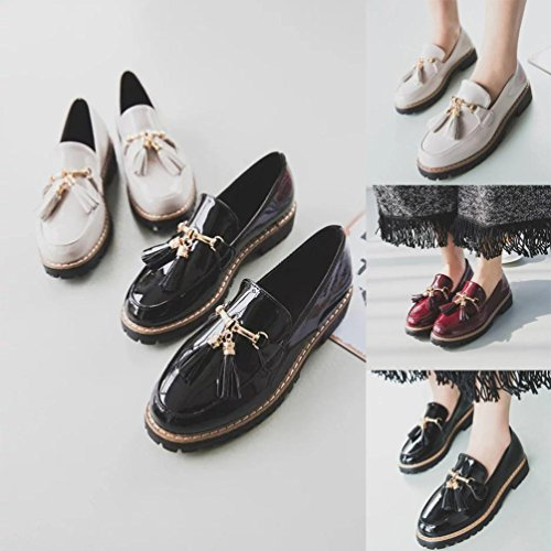 Femme Bottes Chaussures, Somesun Chaussures Casual Femme En Cuir Nappa De Style Preppy Rouge