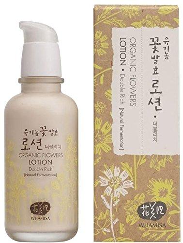 WHAMISA Organic Flowers Lotion Double Rich - Korean Skin Care Gesichtslotion mit Arganöl und Pflanzenexrakten für Nährstoffe und Feuchtigkeit - Leichte Damen Tagespflege fürs Gesicht - 120ml
