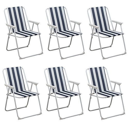 Folding Portable Beach / Camping Deck Chair - Blue Stripe - Pack of 6