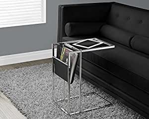 Black : Monarch Specialties Black/Chrome Metal Accent Table with a Magazine Holder