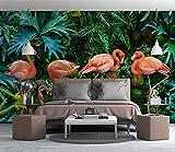 (140X70CM), Alte Zeitung 3D tapete - Nordic kleine frische tropische Regenwald Bananenblatt Flamingo Garten - Wallpaper Poster Wanddekoration von Bestwind