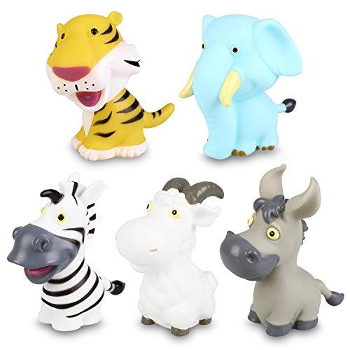 Peradix Wasserspielzeug Badewannenspielzeug Baby Badetiere Sammelfigur Tiere Figur Groß 5 PCS mit Aufbewahrungs-Rücksack für Kinder ab 3 Jahre