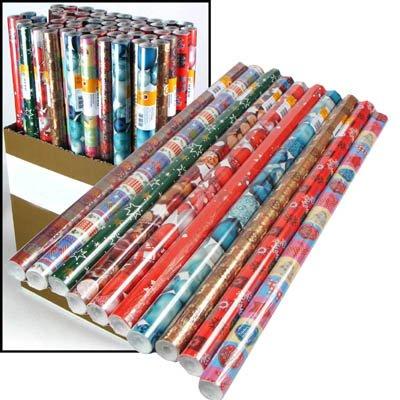 4er Set (4 Rollen) weihnachtliches Geschenkpapier, je 200x70cm, stabile Qualität