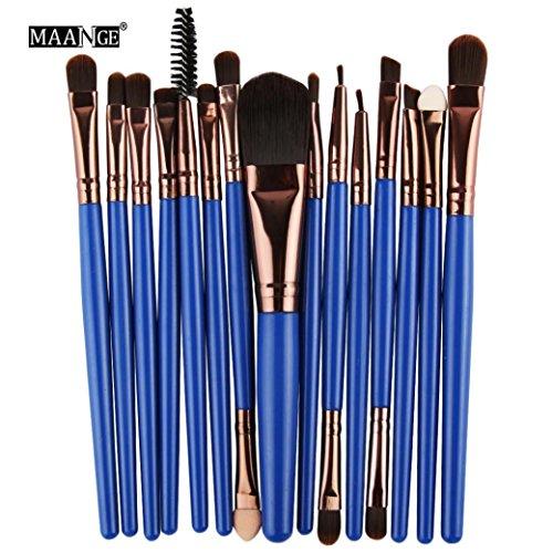 Honestyi 15pcs / set ensemble de pinceaux de maquillage Bleu foncé (Bleu foncé)