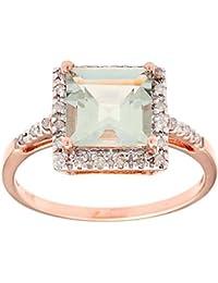 10 K oro rosa 1.85 cuadrado verde amatista y diamante anillo
