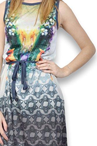 SMASH - Robe femme sans manche - Robe femme multicolore courte Bleu
