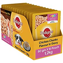 Pedigree Wet Dog Food, Chicken Chunks in Gravy for Puppy – 80g (Pack of 15)